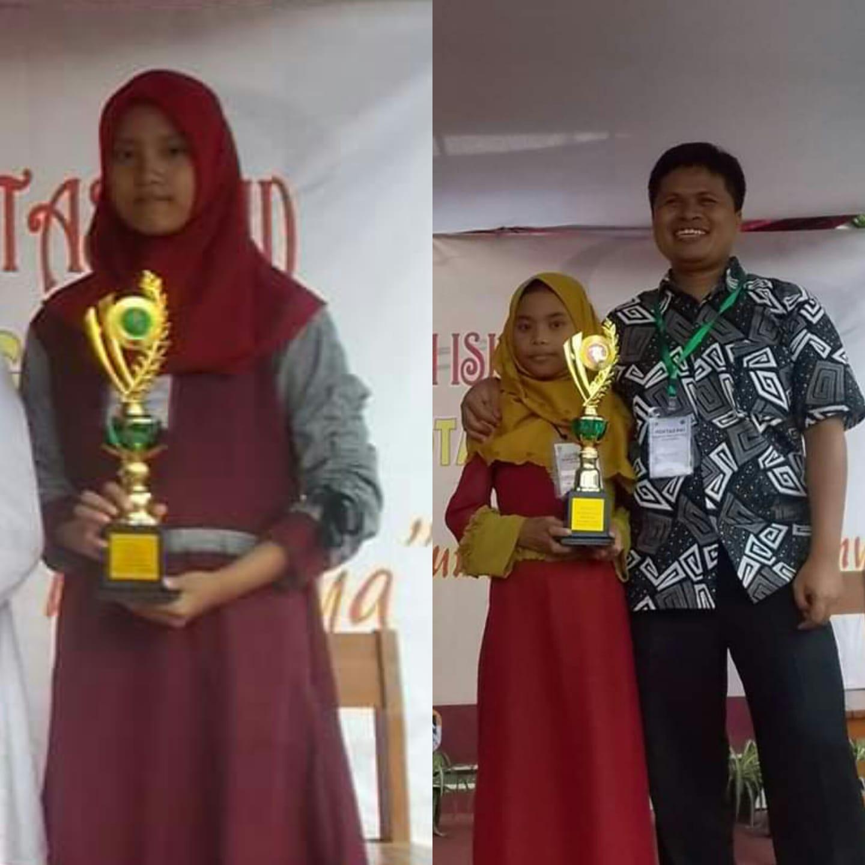 Ananda Puji Latifah Dwi A Juara 1 MTQ dan Ananda Frisa Aprilia Juara 1 Kaligrafi Pentas PAI Tk. Kec. Bacip Tahun  2019