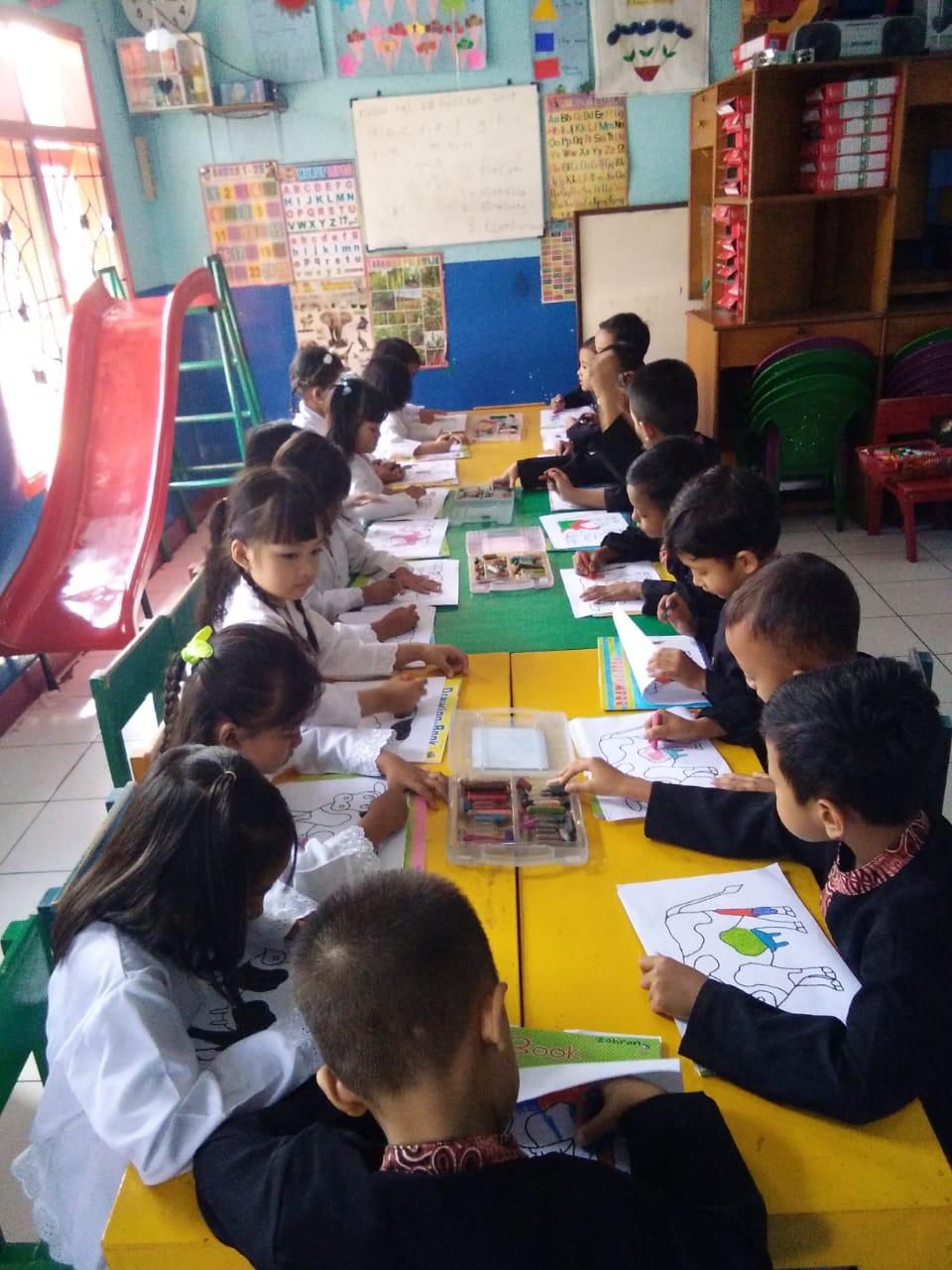 suasana kelas Sedang melakukan pembelajaran , Foto diambil sebelum Pandemi COVID 19