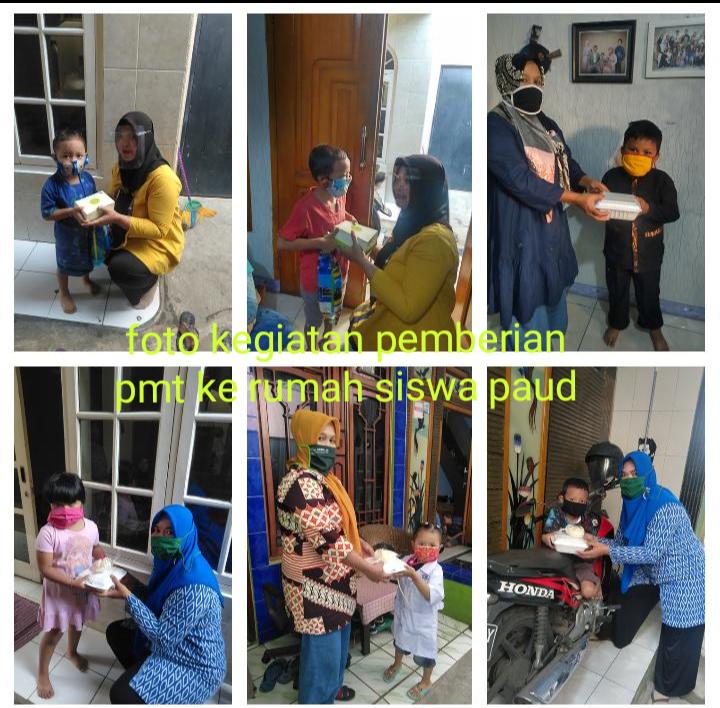 Foto kegiatan pemberian pmt ke rumah siswa PAUD